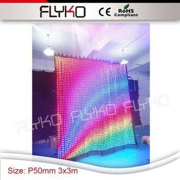 Hot-sale p5 indoor fashion design size 3m high x 3m width flexible led curtain for show bar decoration