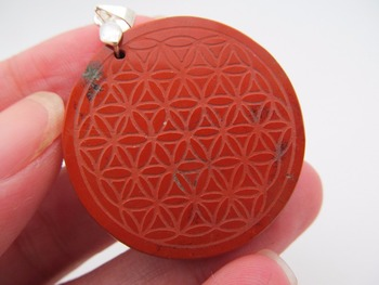Supernatural Natural Bloodstone Flower of Life Pendant Necklace Mandala Sacred Geometry Jewelry Fleur De Vie With Rope