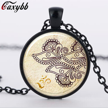 Vintage Henna tattoo glass pendant ethnic choker Mandala statement Pendants & Necklaces charms Flower jewelry C-N 722