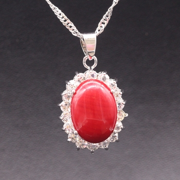 GZJY Beautiful Jewelry Oval Natural Red Coral Pendant AAA Zircon White Gold Color Necklace Pendant For Women