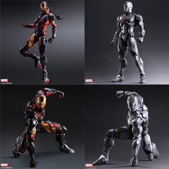 OYUNCAKLAR Iron Man Mark MK43 Oyna sanatları PLAYARTS KAI figma Superman Deadpool marvel Avengers joker PVC action figure koleksiyon Modeli