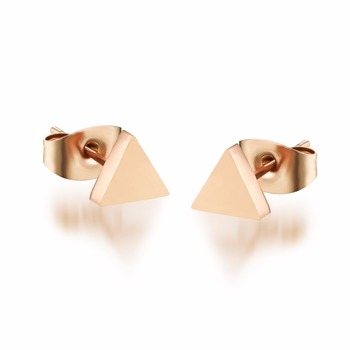Triangle New Design Champagne Gold Color Woman Simple Earring Anti-allergy Titanium Steel Jewelry Birthday gift