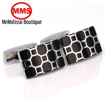 MeMolissa French enamel square Black grid Cufflink For Mens Shirt Brand suit Cuff Buttons Cuff Links