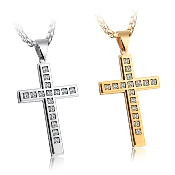 Mens Stainless Steel Chain Zirconia Crystal Cross Necklace Pendant Silver Gold Color Prayer Accessories Charm Christian Jewelry