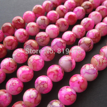 8mm 10mm Mottled Glass Beads Round Pink and Brown Bohemia Beads for jewelry making